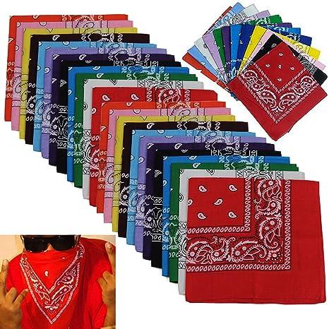 00b1c02fc71 Amazon.com: BSLINO Bandanas 24pcs 22 X 22 Inch 100% Cotton Novelty Double  Sided Print Paisley Cowboy Bandana Party Favor Scarf Headband Handkerchiefs  Two ...