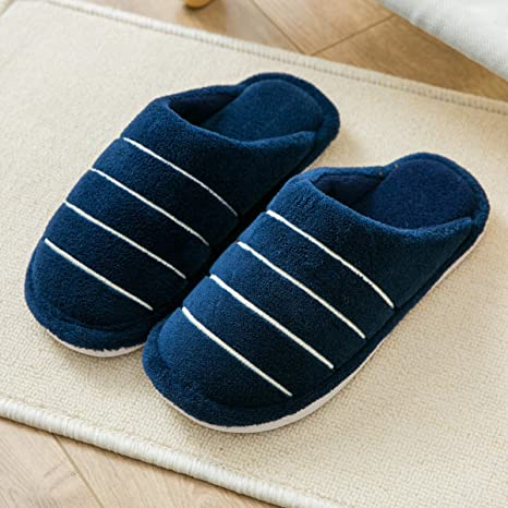 LaxBa Invierno patinar en zapatillas piel falsa nieve forrada caliente Zapatos para hombres azul marino42-