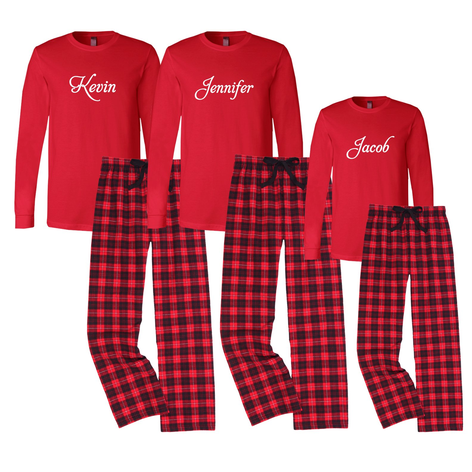 Set of 3 Personalized Family Christmas Pajamas - Black and Red (Set of 3) by Cotton Sisters