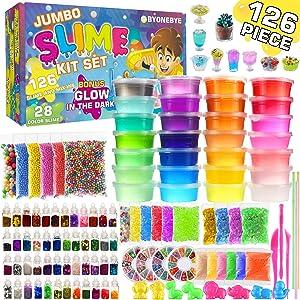 Byonebye 126 Pcs DIY Slime Making Kit for Girls Boys - Birthday Idea for Kids Age 5+. Ultimate Fluffy Slime Supplies Include 28 Crystal Slime, 2 Glow in The Dark Powder, 48 Bottle Glitter Jar etc.