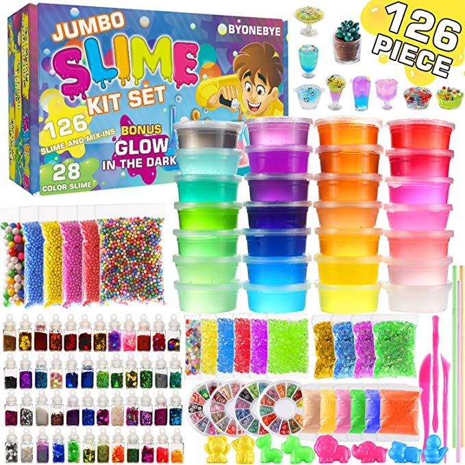 126 Pcs DIY Slime Making Kit for Girls Boys - Birthday Idea for Kids Age 5+. Ultimate Fluffy Slime Supplies Include 28 Crystal Slime, 2 Glow in The ...