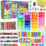 Byonebye 126 Pcs DIY Slime Making Kit for Girls Boys - Birthday Idea for Kids Age 5+. Ultimate Fluffy Slime Supplies Include