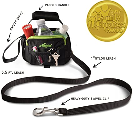 Small Leash Gear 3-in-1 Dog Leash//Poop Bags//Waste Holder Black