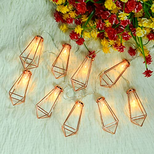 Omika 20 LED Rose Gold Geometric Fairy Lights – USB Battery Powered, Boho Metal Cage Bedroom String Lights for Wedding Decorations Party Indoor Patio Camping Wall Decor, 10 Ft 3m