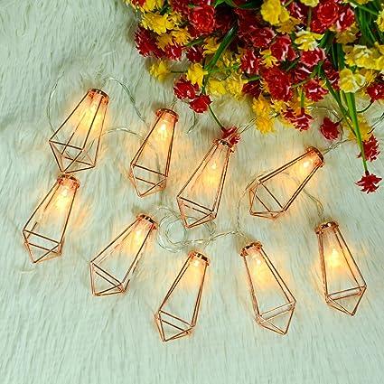 Amazon.com : Omika 20 LED Rose Gold Geometric Fairy Lights - USB ...