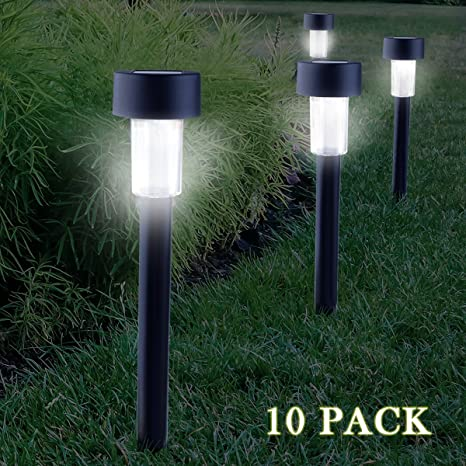 Cellay Solar Powered LED Garden Lights [ 10 PACK ] Perfect White Light  Design, Garden