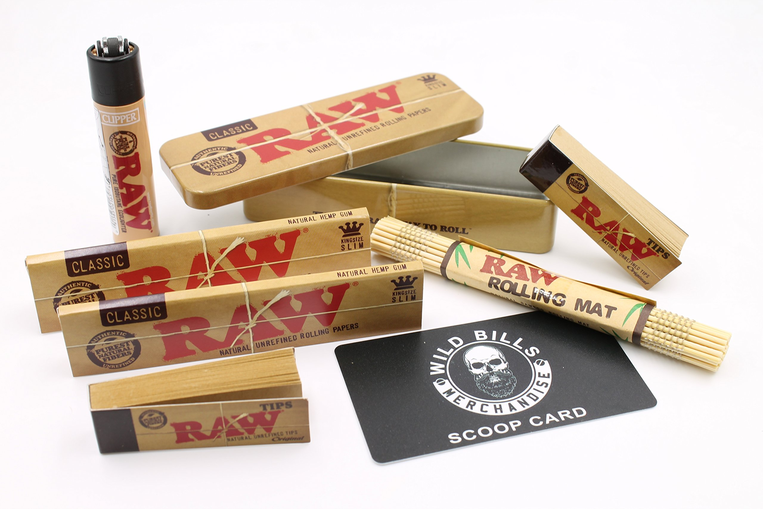 Bundle - 7 Items - Raw- 2 King Size Slim Rolling Paper,1 King Size Tin, 1 Hemp Leaf Clipper Lighter,1 Raw Bamboo Mat, 1 Raw Tip