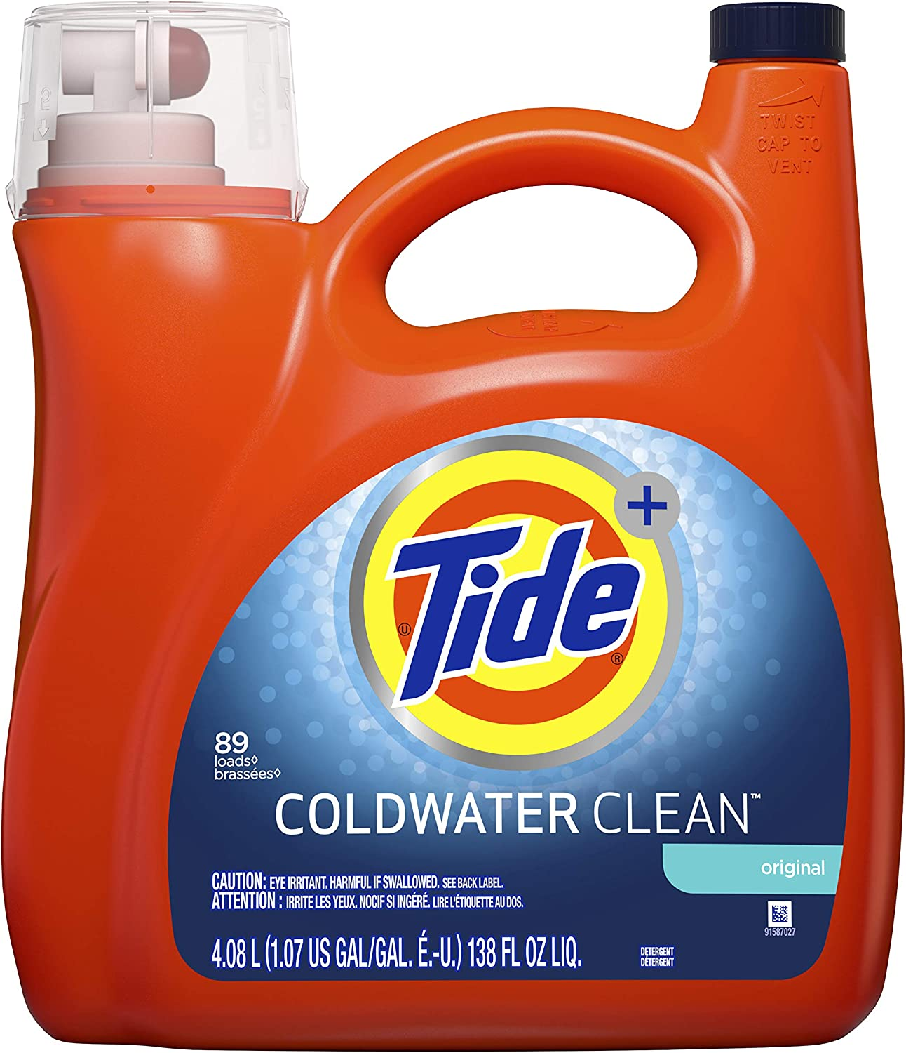 Tide HE Coldwater Turbo Clean Liquid Laundry Detergent, Original, 89 Loads, 138 Oz