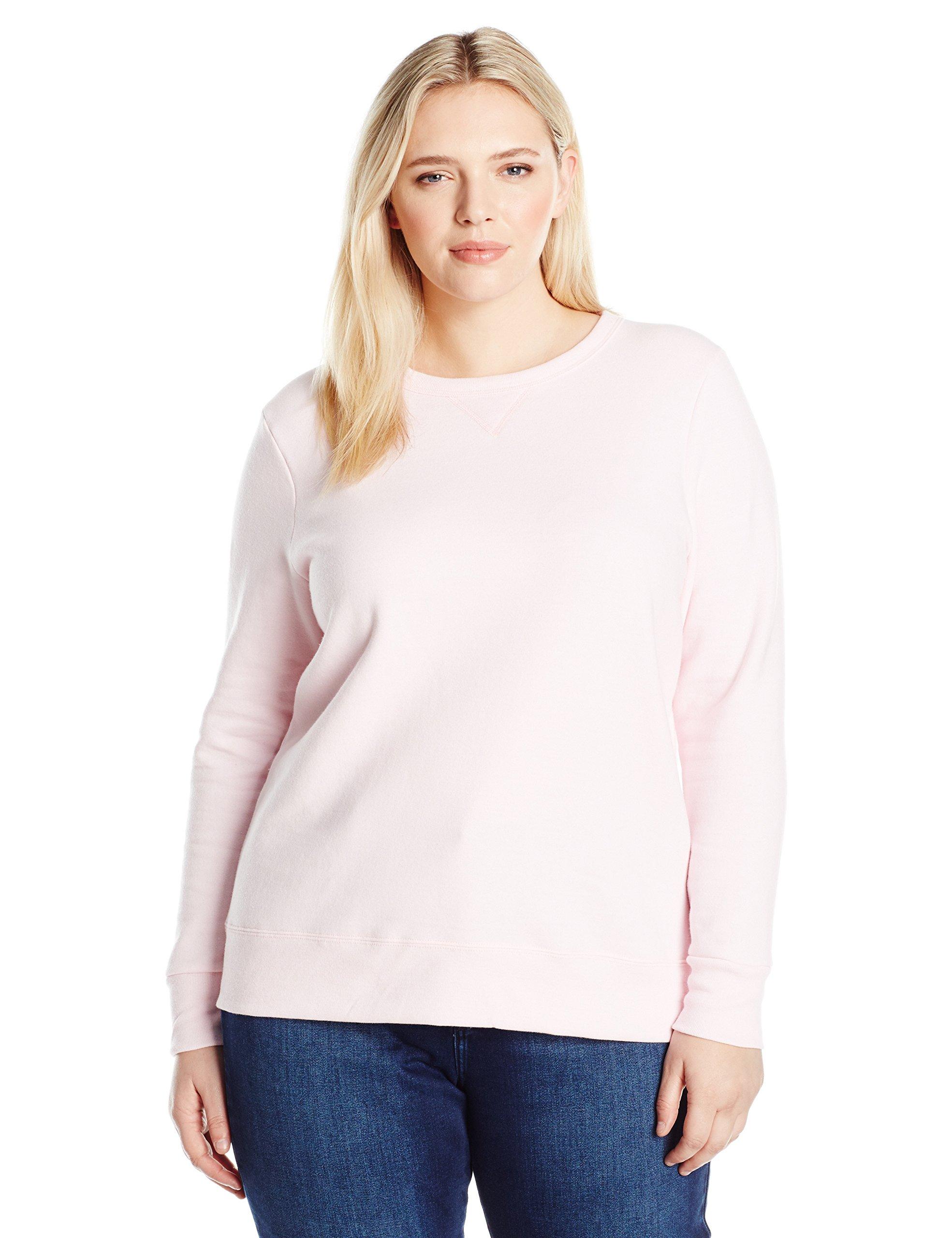 Just My Size Women's Plus V-Notch Sweatshirt, Pale Pink, 2X