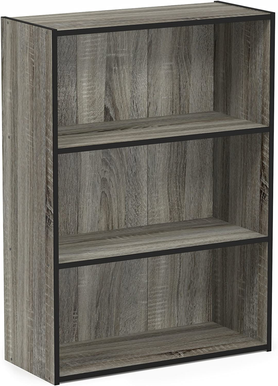 Furinno Pasir 3-Tier Open Shelf Bookcase, French Oak Grey