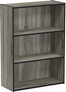 Furinno Pasir 3-Tier Open Shelf Bookcase, French Oak Grey