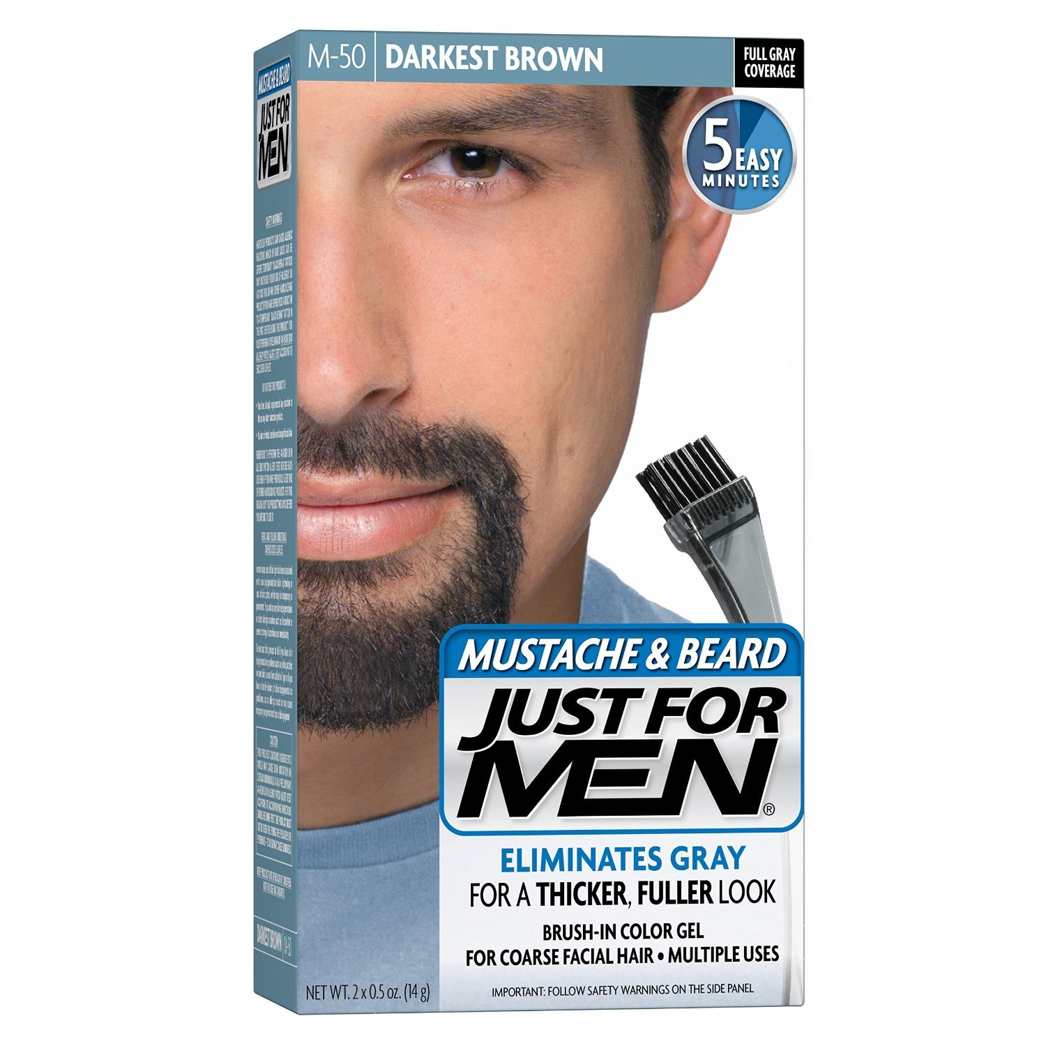 Amazon.com : Just For Men Brush-In Color Mustache & Beard - Medium ...