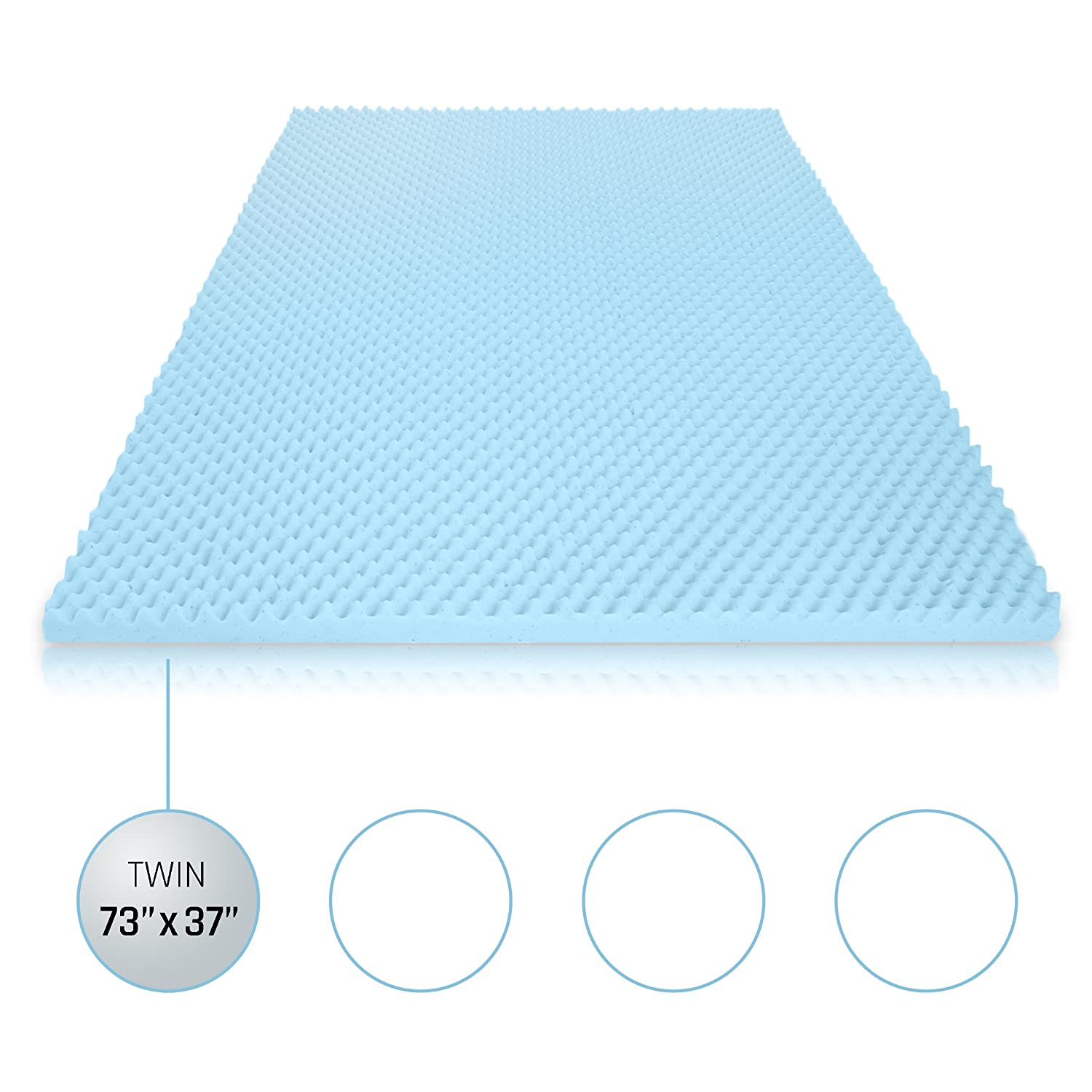 egg crate gel memory foam mattress topper twin mattress pad provides great pressure relief gel infusion contributes to a cooler night sleep twin