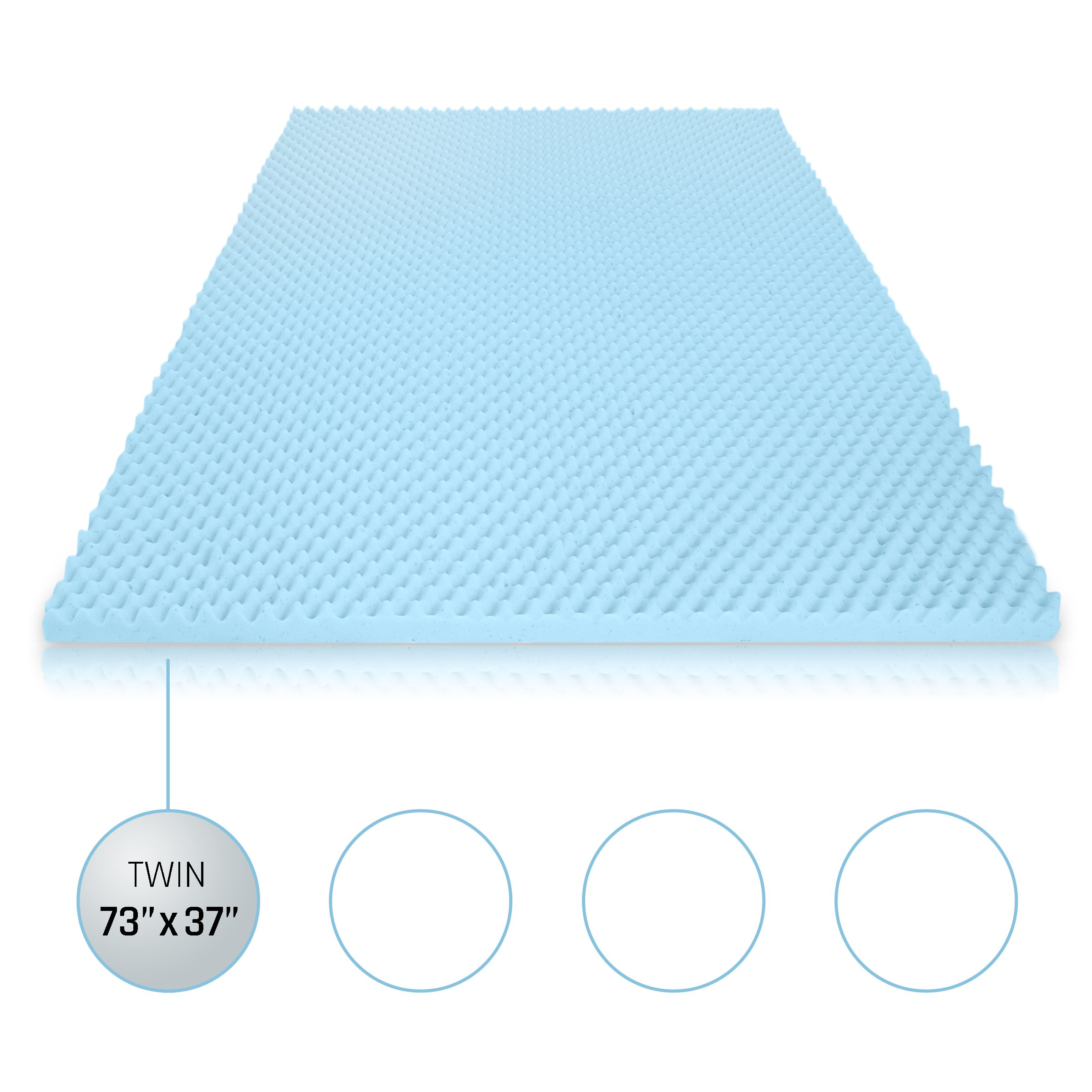 Milliard 2in. Egg Crate Gel Memory Foam Mattress Topper - Twin, Mattress Pad Provides Great Pressure Relief, Gel Infusion Contributes to a Cooler Night Sleep (Twin)