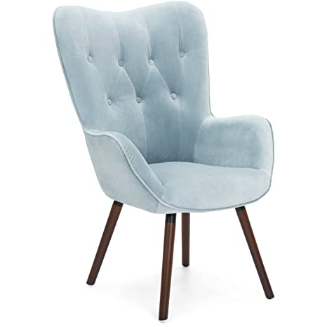 Swell Best Choice Products Contemporary Silk Velvet Tufted With Wooden Legs And Buttons Accent Chair Blue Forskolin Free Trial Chair Design Images Forskolin Free Trialorg