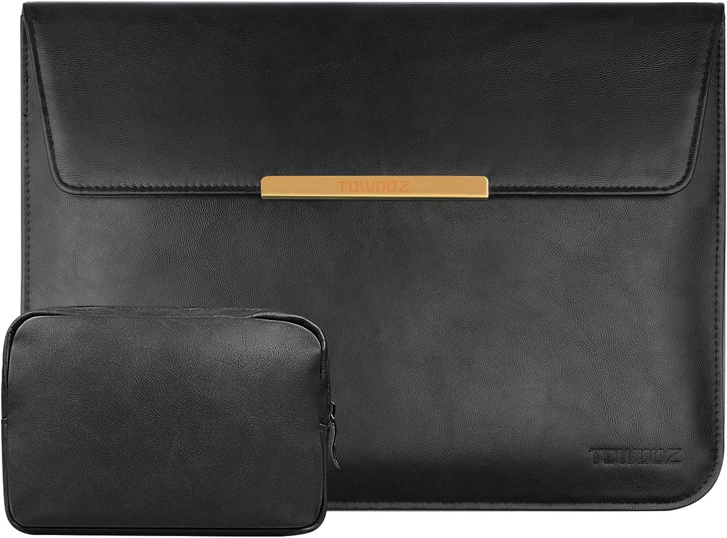 13-13.3, PU Black PU Leather Bag TOWOOZ 13.3 Inch Laptop Sleeve Case Compatible with 2016-2020 MacBook Air//MacBook Pro 13-13.3 inch//iPad Pro 12.9 Dell XPS 13// Surface Pro X