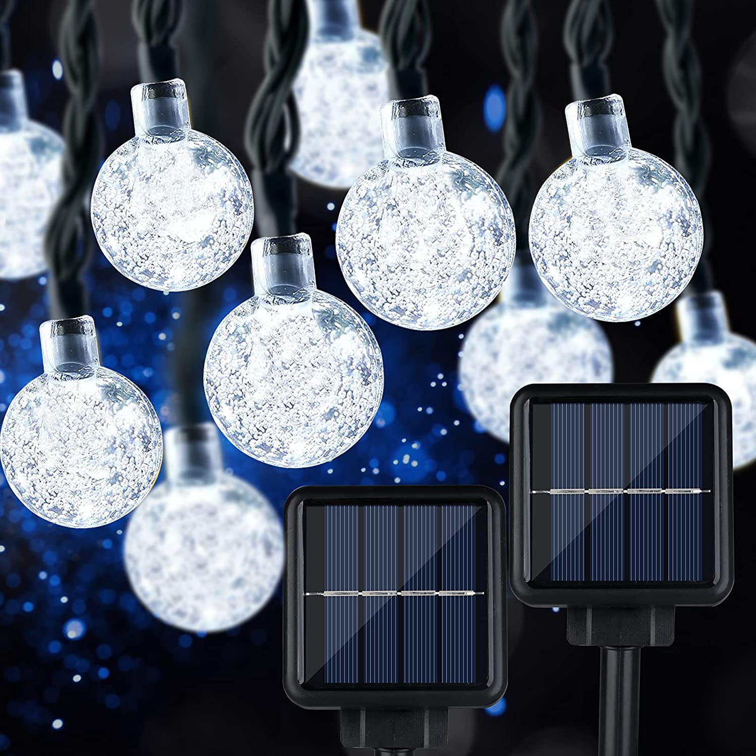 Extra-Long 2-Pack 160 LED 110FT Crystal Globe Solar String Lights Outdoor Waterproof, Led Solar Lights Outdoor Decorative, 8 Modes Solar Powered Patio Lights for Garden Christmas Party Tree, Daylight