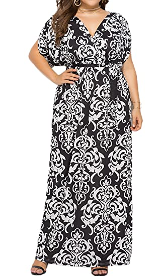 d5df7798b36ab Enggras Womens V Neck Plus Size Empire Waist Paisley Boho Maxi Dress Floral  Casual Long Dress