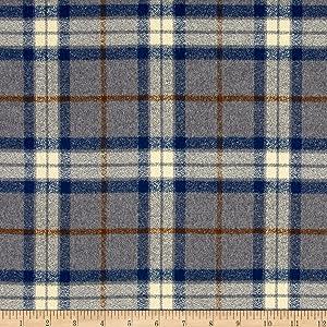 Robert Kaufman 0440775 Mammoth Flannel Large Plaid Fabric by The Yard, Steel