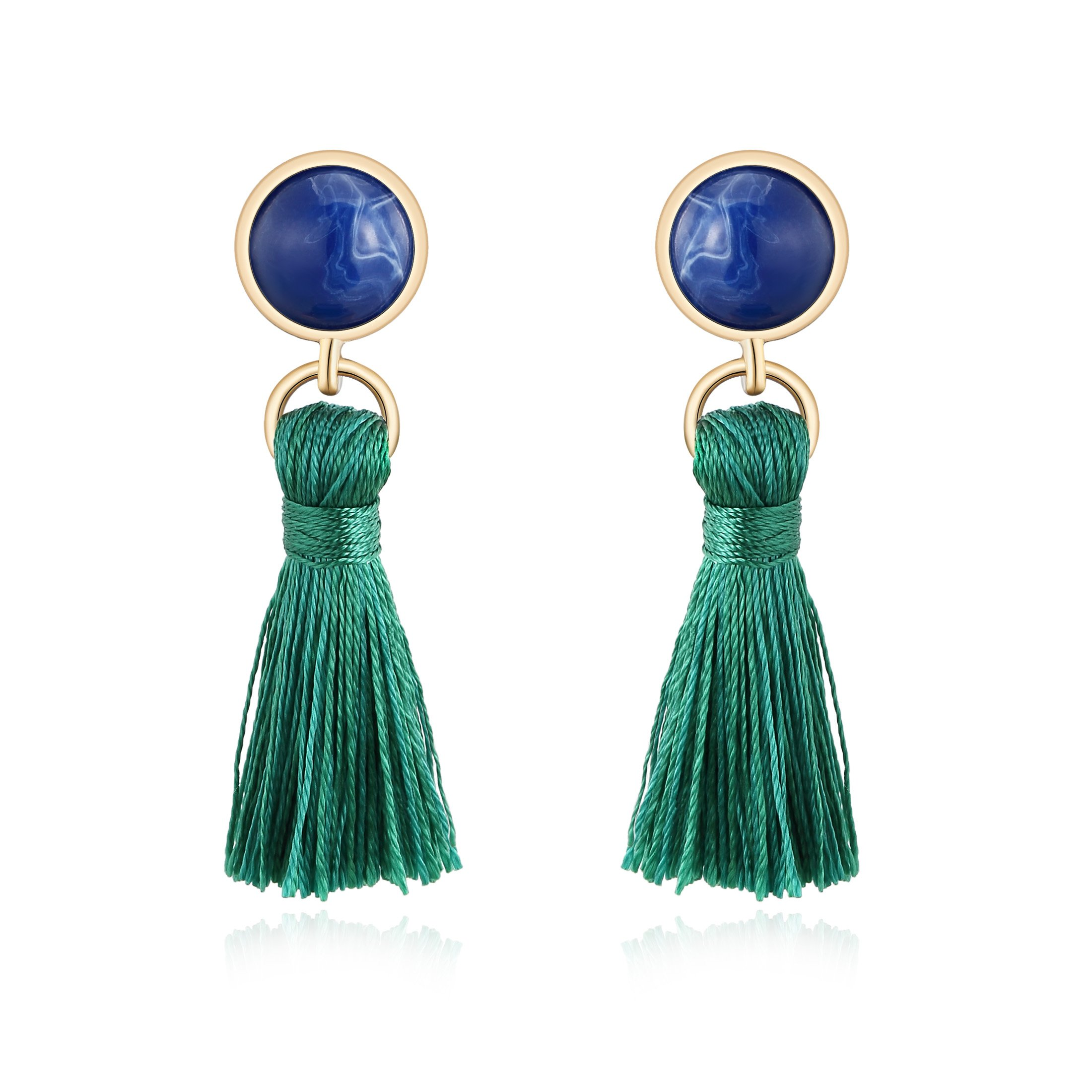 Ellena Rose Colorful Everyday Tassel Earrings, Statement Boho Drop Earrings for Women, Colorful Summer Colors to Help Your Outfit Pop (Blue and Green)