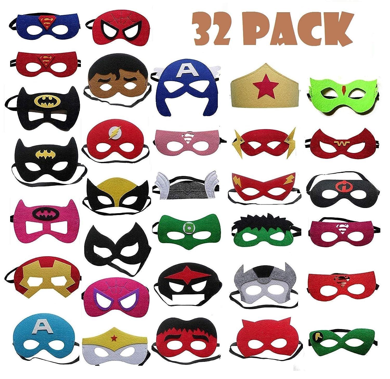 TATAFUN Máscaras de Superhéroe,Suministros de Fiesta de Superhéroes, Máscaras de Cosplay de Superhéroe con Cuerda Elástica Máscaras de Ojos para Ni&nti