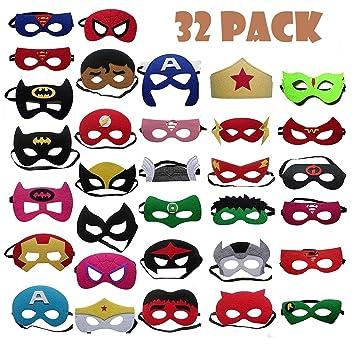 TATAFUN Máscaras de Superhéroe,Suministros de Fiesta de Superhéroes, Máscaras de Cosplay de Superhéroe con Cuerda Elástica Máscaras de Ojos para Niños ...