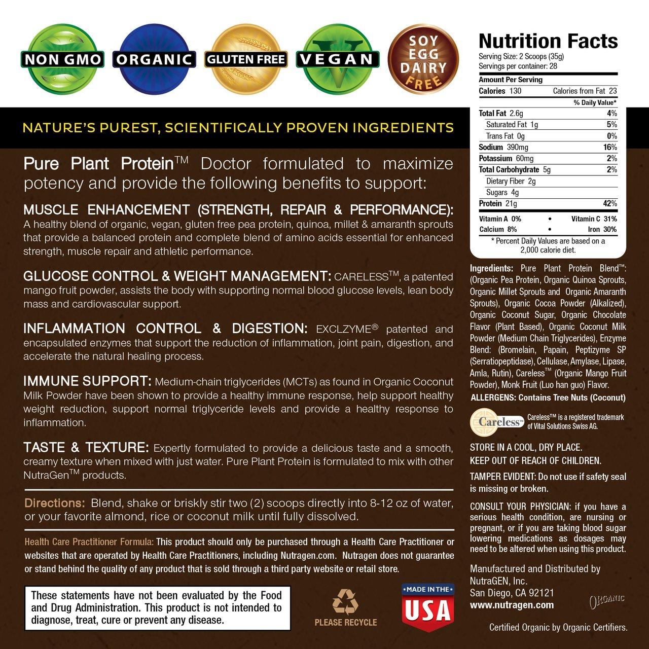 NUTRAGEN PURE PLANT PROTEIN (CREAMY CHOCOLATE FLAVOR)