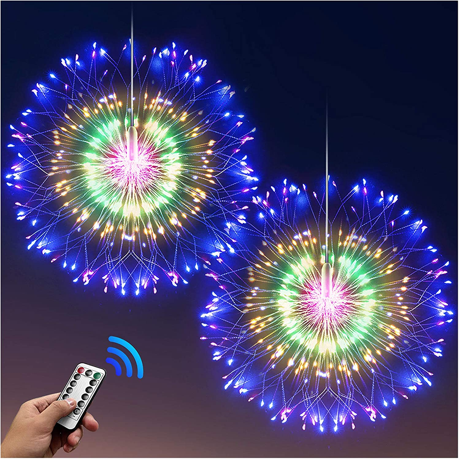 DenicMic Firework Lights Starburst Lights 200 LED Copper Wire Battery Operated Hanging Sphere Lights with Remote, 8 Modes Stars Fairy Ceiling Decorations for Patio Party Wedding Christmas (2 Pack)