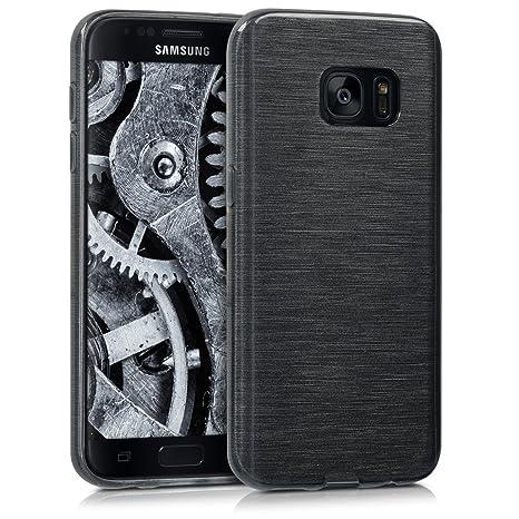 kwmobile Funda para Samsung Galaxy S7 - Carcasa de [TPU] para móvil y diseño de Aluminio Cepillado en [Antracita/Transparente]