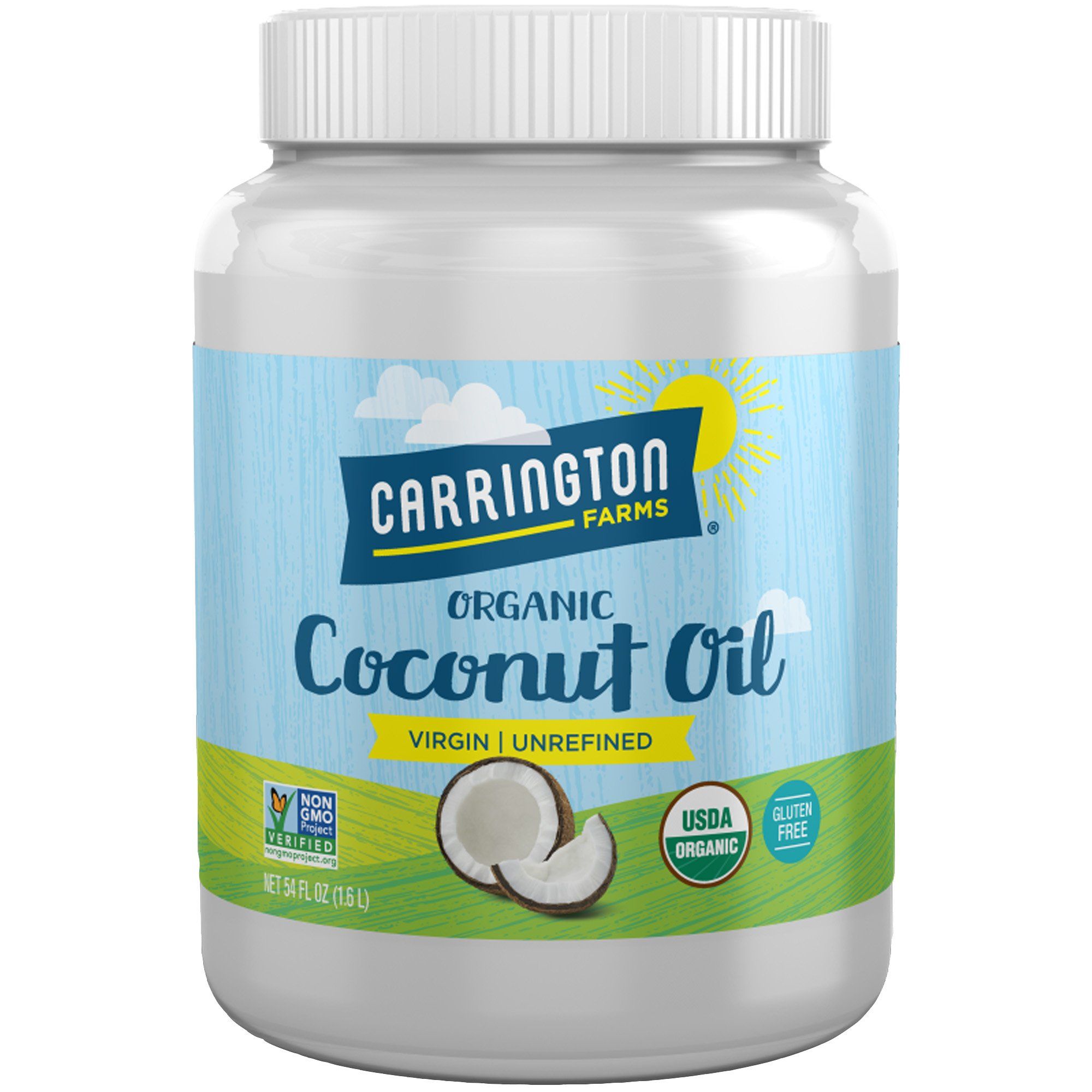 Carrington Farms Gluten Free, Unrefined, Cold Pressed, Virgin Organic Coconut Oil, 54 oz. (Ounce), Coconut Oil For Skin & Hair Care, Cooking, Baking, & Smoothies by Carrington Farms