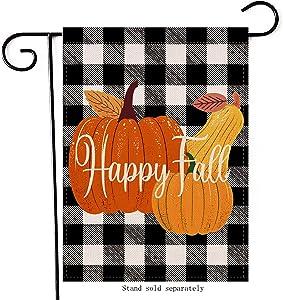 Hzppyz Happy Fall Pumpkins Garden Flag, Buffalo Plaid Check Home Decorative House Yard Outdoor Small Flag Double Sided, Autumn Vintage Outside Decorations Farmhouse Seasonal Burlap Decor Flag 12 x 18