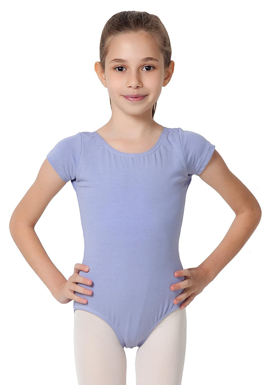 ef0956198 CAOMP Girl's Gymnastics Leotards, Short Sleeve Organic Cotton Spandex, Dance