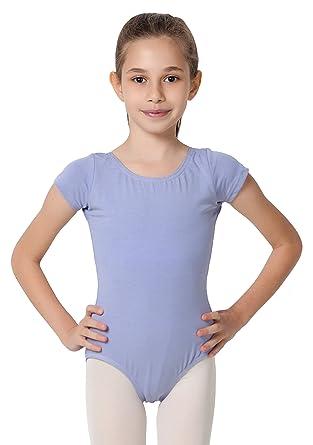 47af38cc09b93 CAOMP Girl's Gymnastics Leotards, Short Sleeve Organic Cotton Spandex, Dance