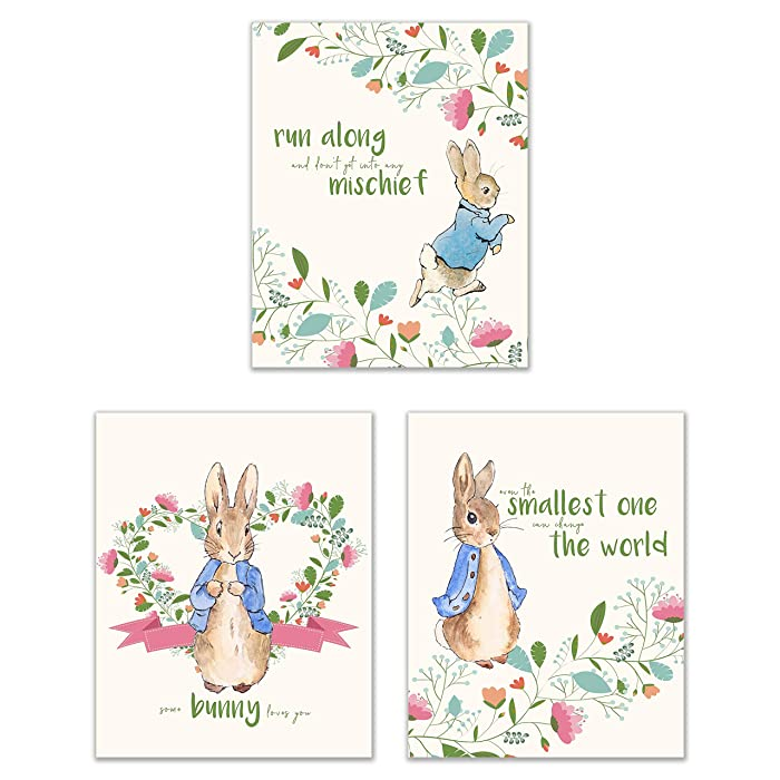 Peter Rabbit Nursery Prints - Set of 3 (8x10) Adorable Classic Family Quotes Botanical Floral Wall Art Decor