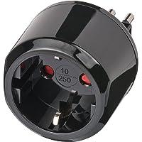 Brennenstuhl Reisestecker / Reiseadapter (Reise-Steckdosenadapter für: Italien Steckdose und Euro Stecker) Farbe: schwarz