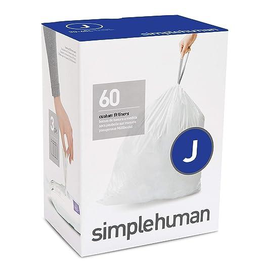 simplehuman - Bolsas de basura a medida, color blanco, código J - 30-40 L, pack de 60