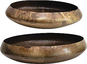 Creative Co-op Decorative Metal Antique Brass, Set of 2 Bowls