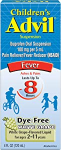 Children's Advil Suspension (4 fl. oz, White Grape-Flavored), 100mg Ibuprofen Fever Reducer/Pain Reliever, Dye-Free, Liquid Pain Medicine, Ages 2 – 11