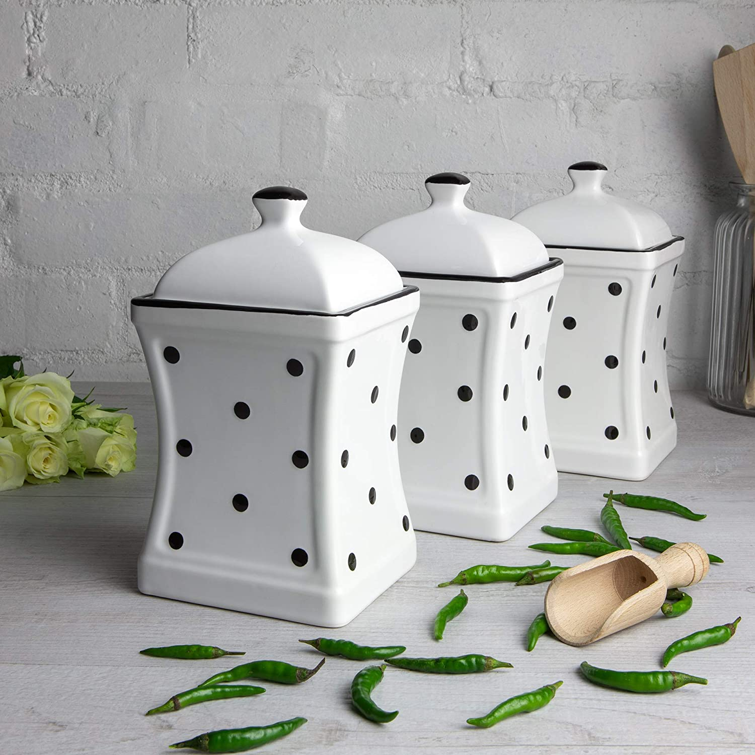 City to Cottage White and Black | Polka Dot |Ceramic Kitchen Storage Jar Set of 3