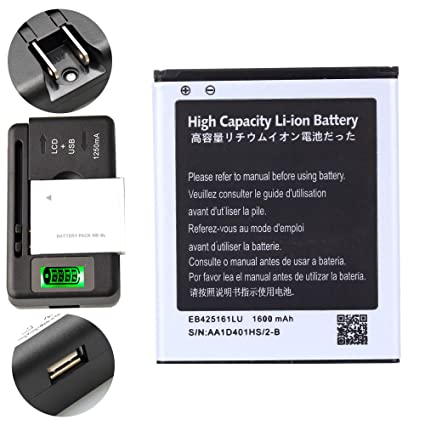 High Capacity Samsung Galaxy Exhibit SGH-T599N Battery EB425161LU +  Universal Battery Charger With LED Indicator For Samsung Galaxy Exhibit  SGH-T599N