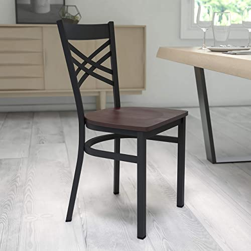 Flash Furniture HERCULES Series Black ''X'' Back Metal Restaurant Chair