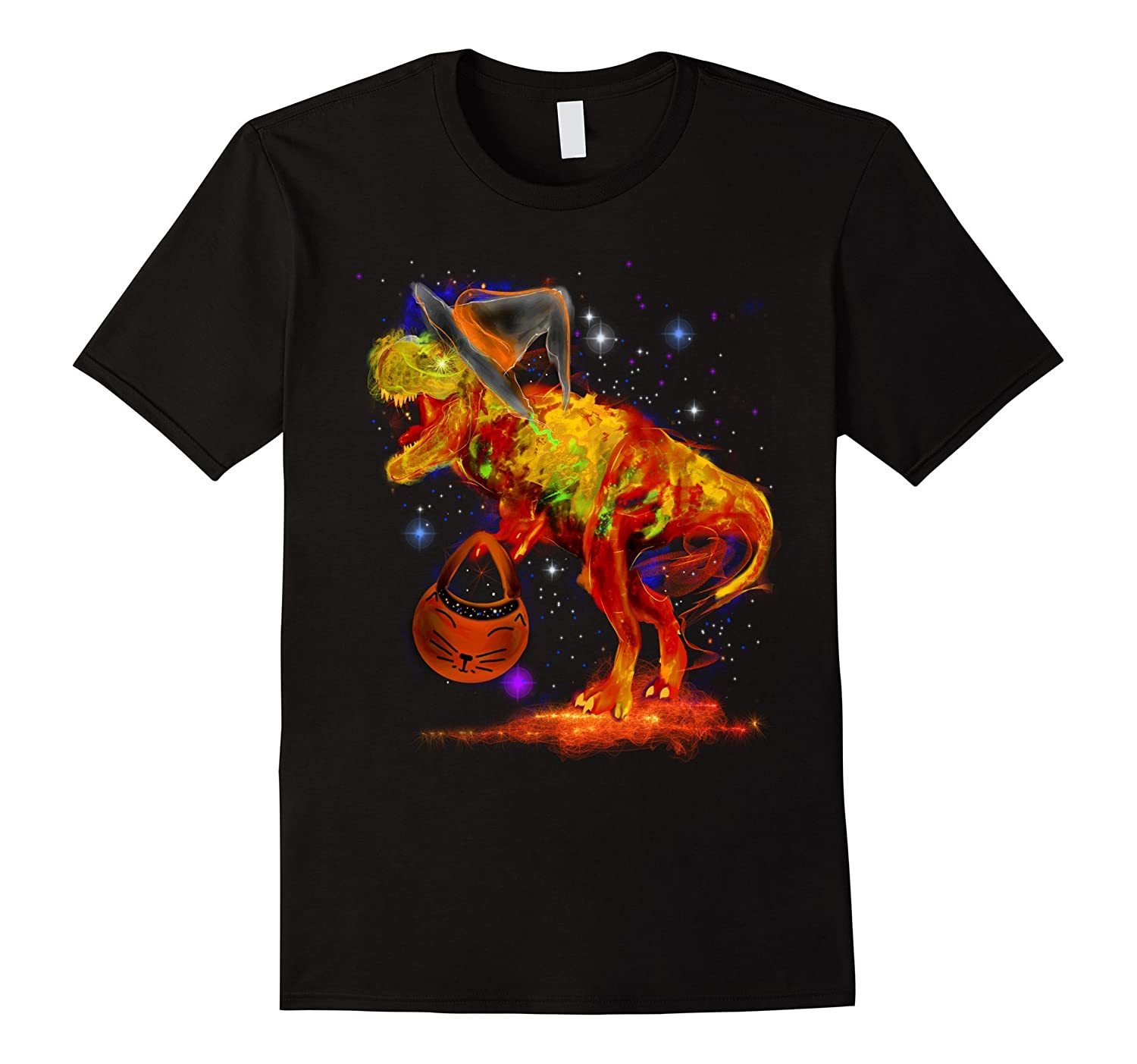 Colorful Funny Halloween T-Rex Dinosaur Witch T-Shirt-ANZ