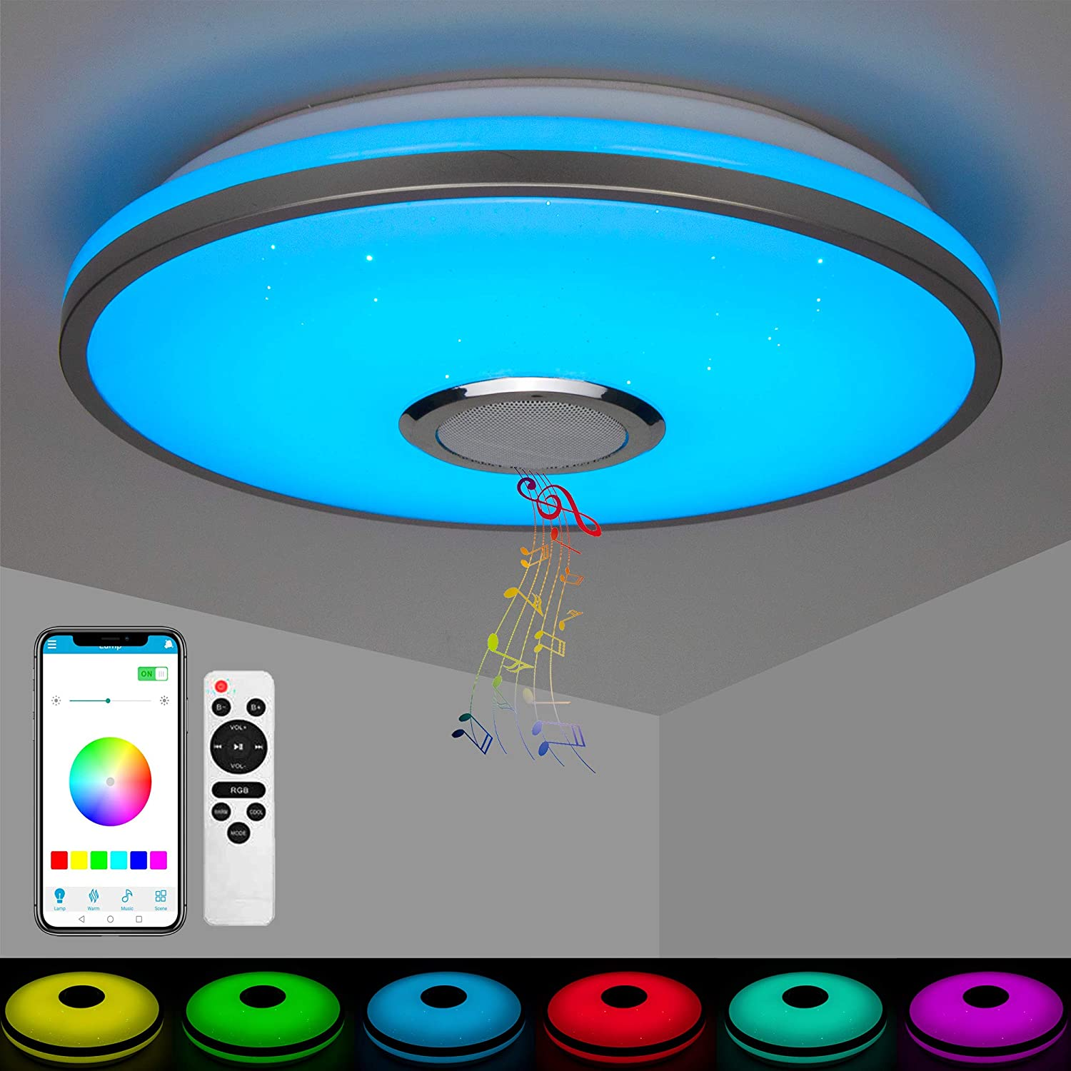 LED Music Ceiling Light with Bluetooth WiFi High Sound Quality Speaker Smartphone APP and Remote Control WAS £39.99 NOW £31.99 w/code 6HA63CVA @ Amazon