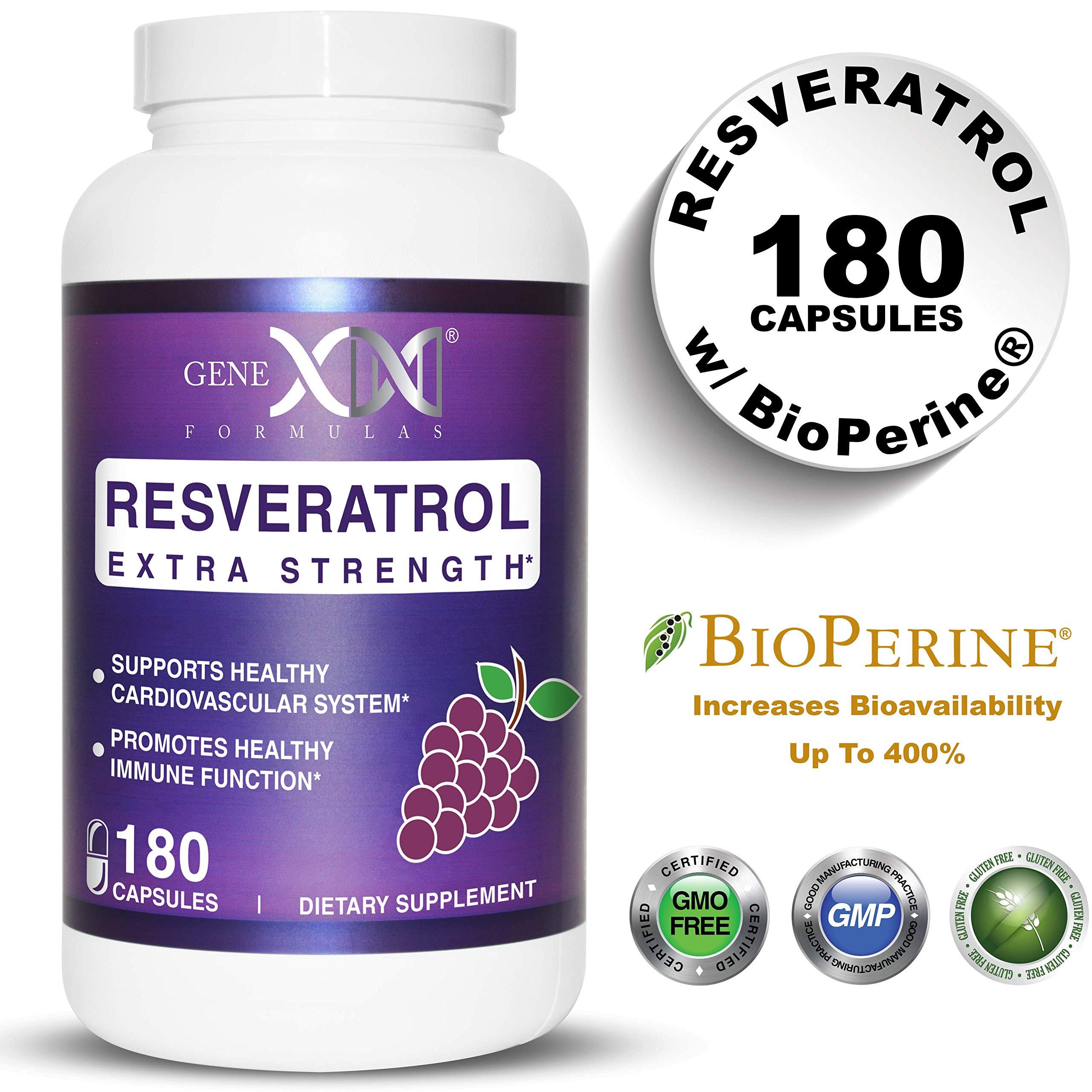 Genex Resveratrol 1000mg Per Serving - Value Size - Max Strength 180 Caps - Antioxidant Supplement Extract | Trans-Resveratrol for Heart Health and Trans Resveratrol for Providing Maximim Benefits by Genex Formulas