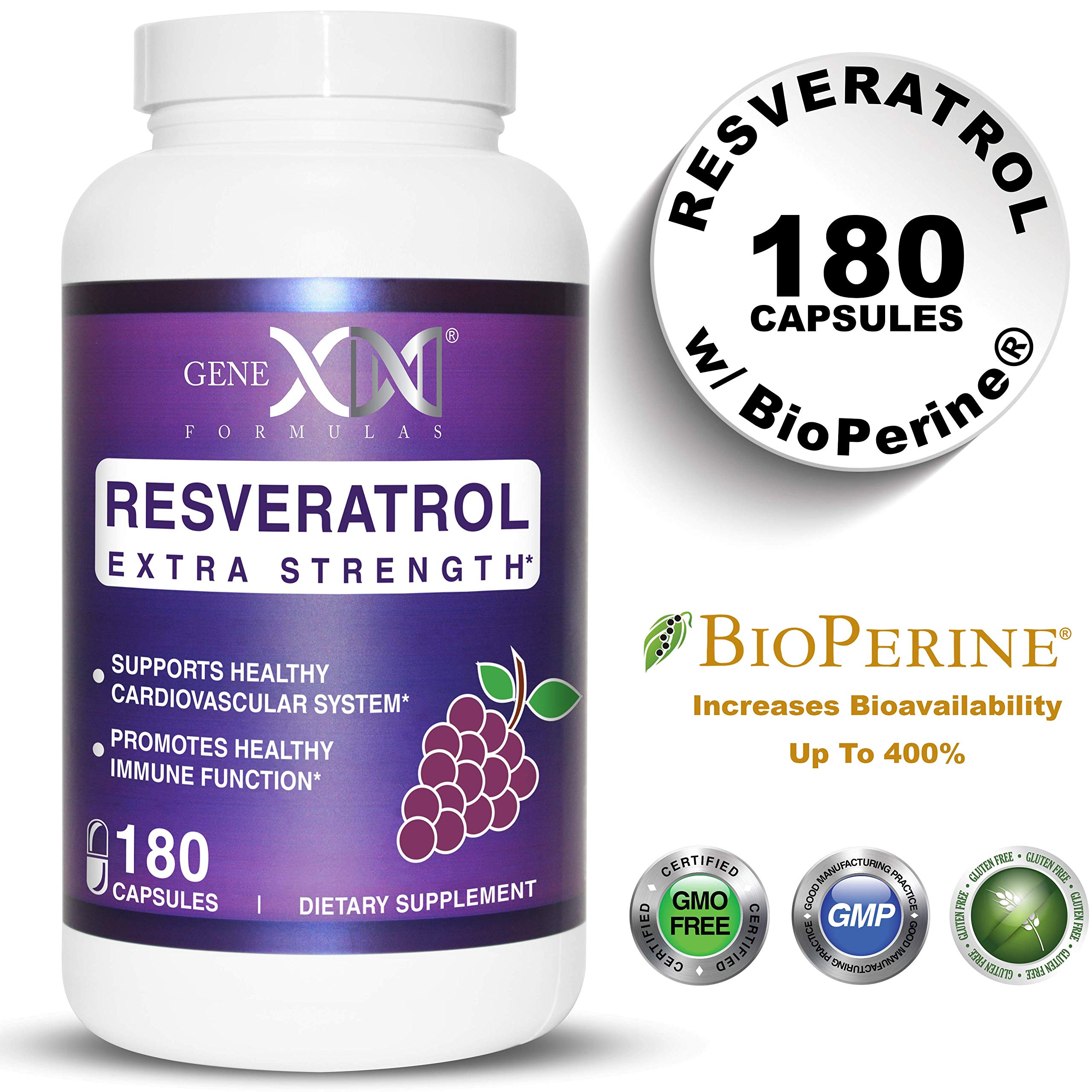 Genex Resveratrol 1000mg Per Serving - Value Size - Max Strength 180 Caps - Antioxidant Supplement Extract | Trans-Resveratrol for Heart Health and Trans Resveratrol for Providing Maximim Benefits
