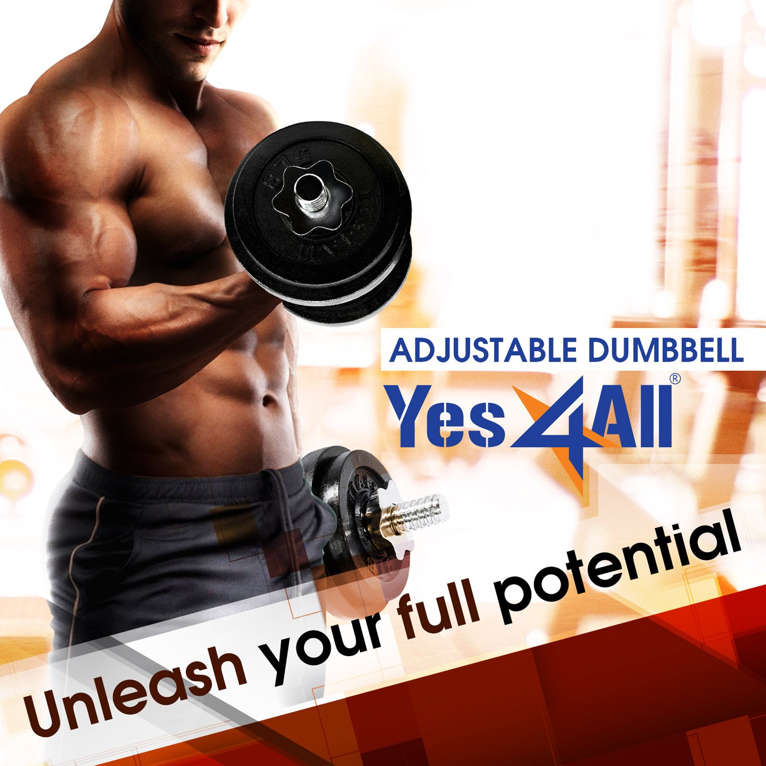 Yes4All - Mancuernas ajustables (18,1 / 22,7 / 23,8 / 27,2 / 47,6 / 90,7 kg) - D2CL: Amazon.es: Deportes y aire libre