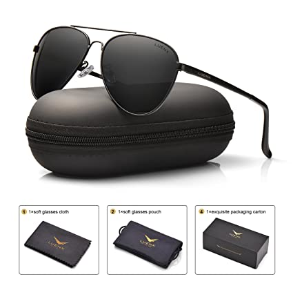 60d695ff5d LUENX Mens Clubmaster Polarized Sunglasses for Womens UV 400 Protection  Black Lens Black Frame 51MM