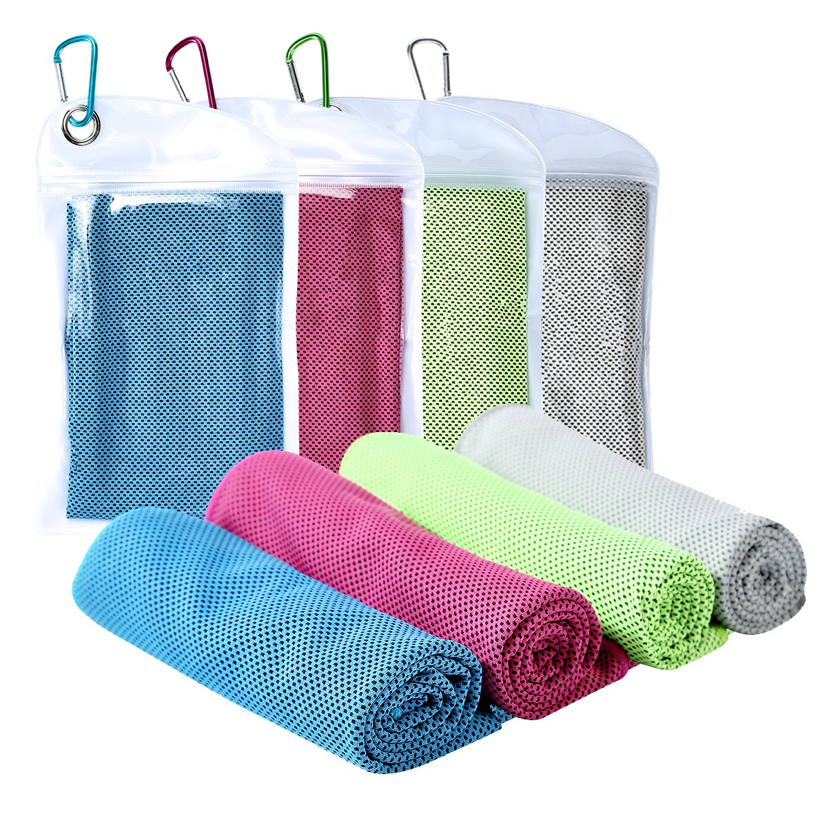 Cooling Towel [4 Pack] Sport Towels Microfiber Towel Fast Drying - Super Absorbent - Ultra Compact Cooling Towel for Sports, Workout, Fitness, Gym, Yoga, Pilates, Travel, Camping & More by GooKit