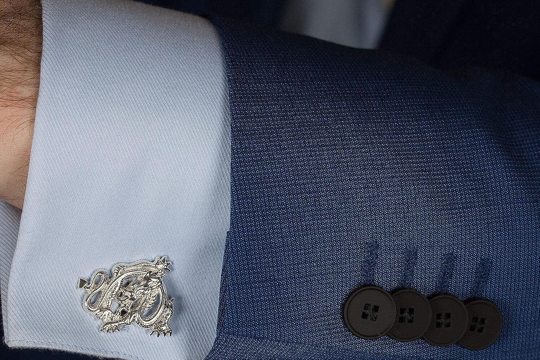 Cufflinks Chinese Dragon Sterling Silver Handmade