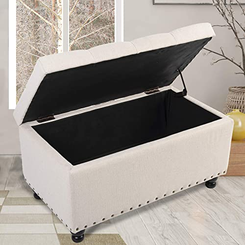 GOOD GRACIOUS Storage Ottoman Bench 31.9 Inches Tufted End of Bed Storage Bench Footrest Foot Stool